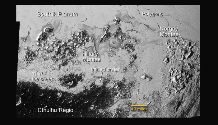 Scientists awed by surface detail from Pluto images: Flowing glaciers, 'Hillary' mountains
